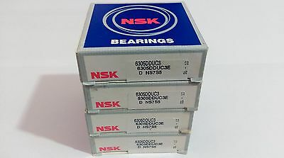 Lot of 4 pc. NSK 6305 DDUC3 Deep Groove Bearing 25X62X17mm Rubber Sealed