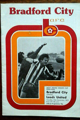Bradford City V Leeds 13/12/1977 West Riding Cup Semi Final