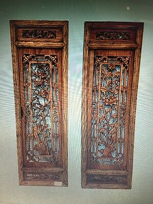 Chinese Antique Pair Of Window Panel