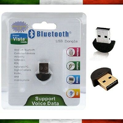 Bluetooth USB Penna Wireless Pc Notebook Chiavetta Adattatore Windows 7 8 10 XP