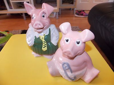 Two Wade Natwest Pigs With Original Stoppers - Annabel And Woody
