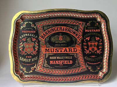 Vtg '60 Barringer & Brown's Mustard Ad Metal Serving Tray Used Man Cave, England