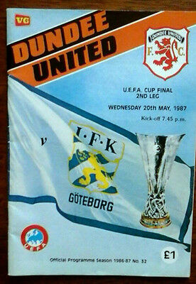 Dundee Utd V Gothenburg 20/5/1987 Uefa Cup Final