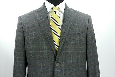 Isaia for Saks 5th Avenue 2 Btn Sport Coat Gray Orange Check Wool Cashmere 41 R