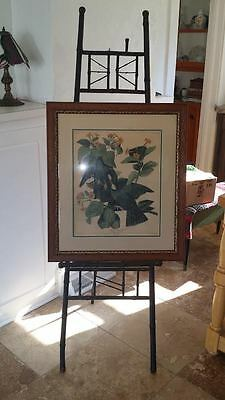 Antique Victorian Black Enameled Bamboo Easel Art Display Reduced