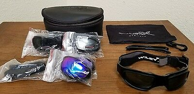 Wiley X SG-1 Z87-2 Tactical Goggles W/ 4 Sets of Lenses, Head Strap, Case & More