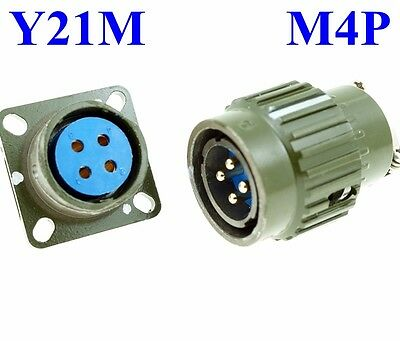 22mm M   4P Electrical Connector Military PLUG MALE PIN, Bayonet
