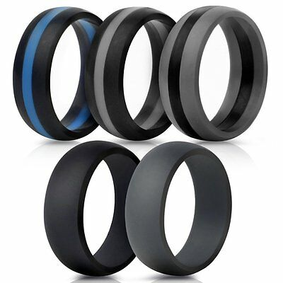 5 Pcs Silicone Wedding Ring Rubber Band Comfort Outdoor Sport Men Durable Gift