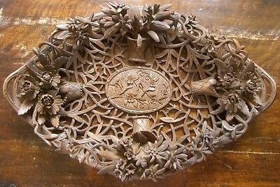 Circa 1900 Black Forest (Brienz) tray with complex hand carved and pierced alpin