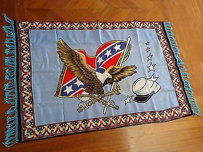 Vintage Confederate Rebel Southern Flag Wall Rug Carpet 100% Cotton 63X37 Inch!