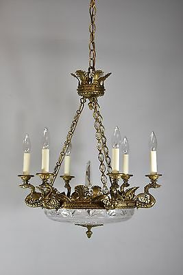 Antique Bronze French Empire Six Arm Chandelier with Dragons and Cut Glass