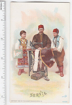 Victorian Trade Card Singer Sewing Machine World Dress Serbia Servia - Lot 037