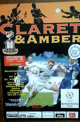 Bradford City V Zenit St Petersburg 2/8/2000 Uefa Intertoto Cup