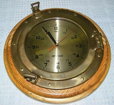 Wood and Brass Ship's Porthole Clock, Quartz