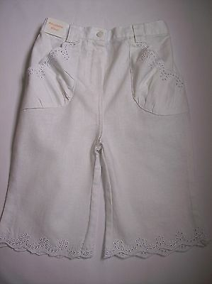 BNWOT Girls Ex John Lewis Cream Cotton Cropped Trousers Ages 0-3 m /& 6-9 m only