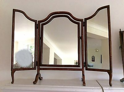 Charming Antique EDWARDIAN or Victorian Triptych Triple DRESSING TABLE MIRROR