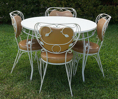 Vintage Wrought Iron Patio Dining Set Table 4 Chairs Mid Century Modern Art Deco