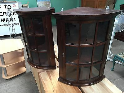 Pair Of Glazed Hanging Corner Display Cabinets