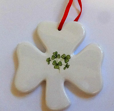 Ornament Shamrocks  On  Porcelain Christmas St Patrick's Day