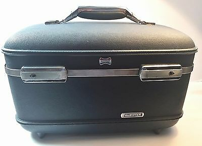Vintage American Tourister Train Case Blue Cosmetic Luggage Carry On Hard Case