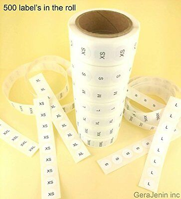 Set of 7 White Round Retail Size Stickers Adhesive 500 Labels Clothing Retail '