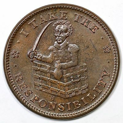 (1838) Low 51 HT-70 I Take the Responsibility Hard Times Token