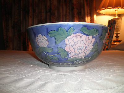 VTG CHINESE EXPORT PORCELAIN BLUE WHITE w/PINK FLOWERS  LARGE CENTERPIECE BOWL