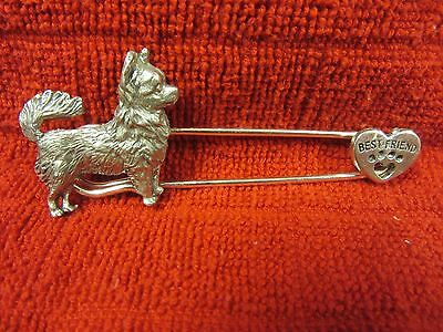 Long Hair Chihuahua Kilt Pin With Enraved Heart- Limited Edition