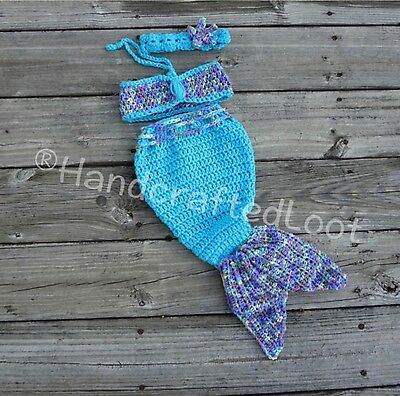 Newborn Baby Mermaid Photo Prop Outfit Mermaid Tail Headband Top