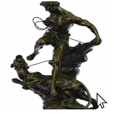 Signed Barye Muscular Man Defends Himself Against Lion Bronze Sculpture Statue