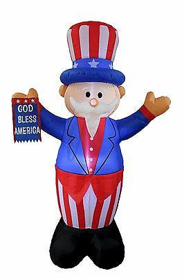 Patriotic Inflatable Uncle Sam God Bless American Flag July 4th Yard Decoration