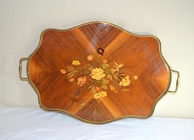 Large Vintage Marquetry Inlaid Wood Tray Brass Trim & Handles Floral Center