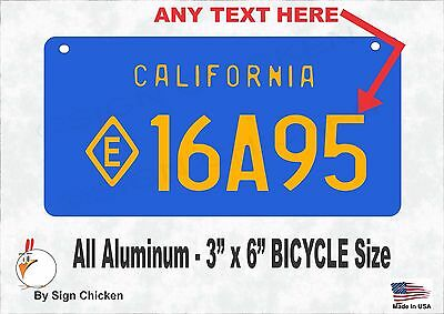 California VINTAGE  BLUE , Personalized Custom License Plate - BICYCLE 3 X 6