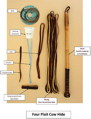 Australian Cow Hide Stock Whip Kit 6 foot by 4 plait
