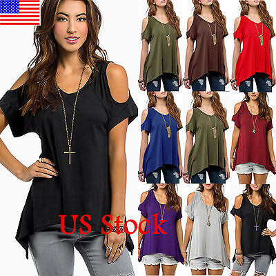US Women's Cold Shoulder Loose Top Short Sleeve Blouse Casual Tee Tops T-Shirt