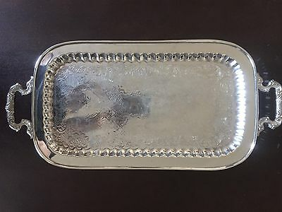 Vintage Havy  Nickel Silver Floral Serving Tray on legs with handles 2ft. long