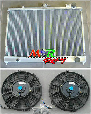 aluminum radiator & fan*2 for Nissan Pintara Skyline R31 MANUAL 2 core 50mm new