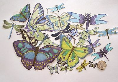 No 300 Scrapbooking - 20 Small To Large Butterflies & Dragonflies