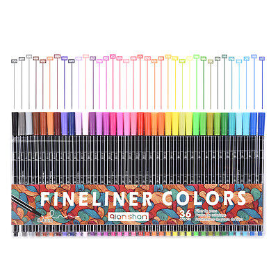 0.4mm Fineliner 36 Colored Marker Pens Water Based Ink Drawing Sketch School
