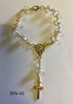 Pink crystal rosary with Cross