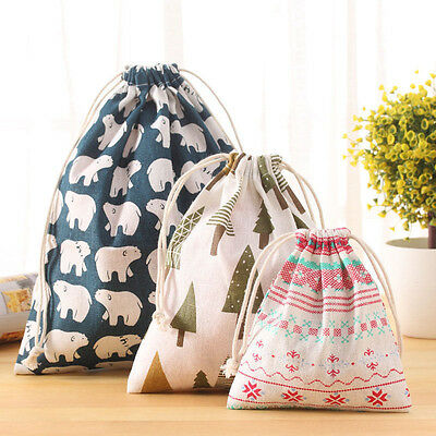 Cotton Linen Drawstring Storage Bag Toy Shoes Laundry Bags Travel Organizer Bag