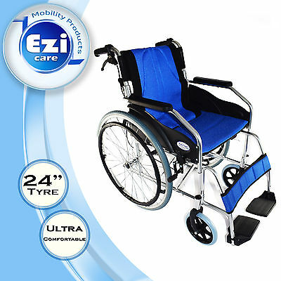Blue cushion Folding backdrop Wheelchair Ezi-Care Age Care Mobility Product