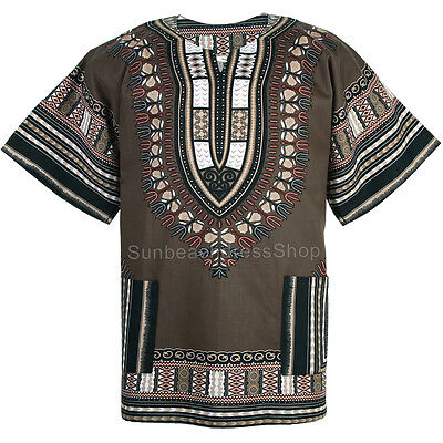 Cotton African Dashiki Mexican Poncho Hippie Tribal Boho Shirt Khaki ad19k