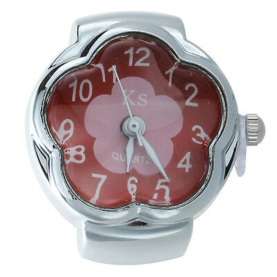 Alloy Quartz Ring Watch Silver Dial Red Flower Women A9B8