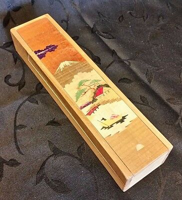 Wood Pencil Box Folding Japan Mount Fuji Hand Painted 2 Tier