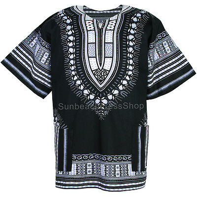Plus Size African Dashiki Cotton Mexican Hippie Tribal Boho Shirt Black ad18d