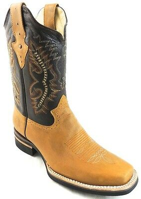 Men's Rodeo Cowboy Boots Genuine Leather Western Square Toe Boots Honey Color