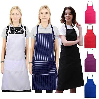 Catering Plain Apron With Pockets Butcher Craft Baking Chefs Kitchen Cooking BBQ
