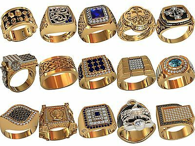 set of men's ring WAX PATTERNS (#m26) for Lost Wax Casting  Jewelry (15pcs)