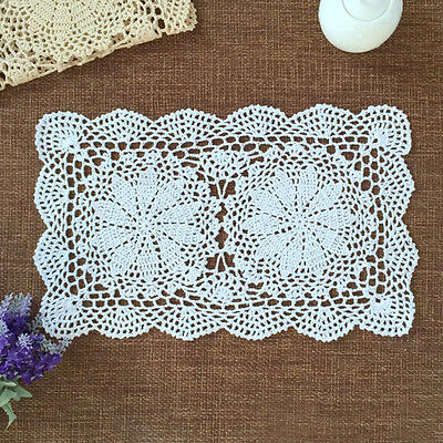 Handmade Crocheted Doily Doilies Placemat Rectangle Cotton Lace Mat 27x43cm